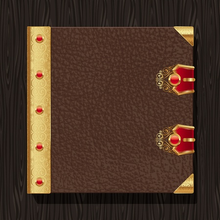Leather vintage hardcover of a book with golden decorative elements Vector