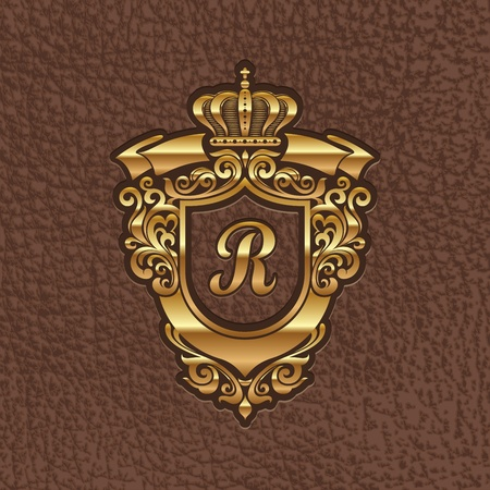 leather coat: Vector illustration - golden royal coat of arms embossing on a leather