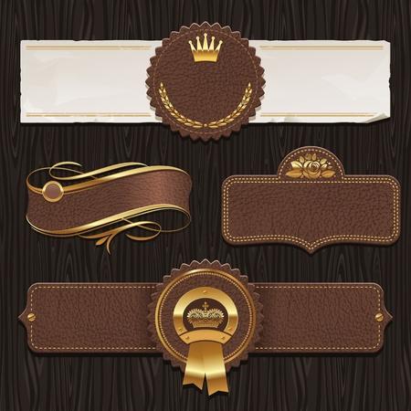 pancarte bois: Ensemble Vecteur de cuir et d'or les �tiquettes encadr�es