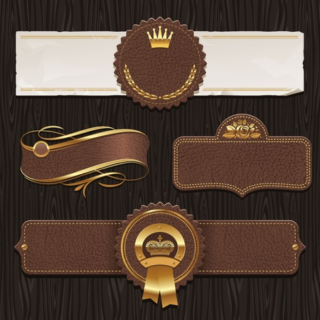 banner sign label background: Vector set of leather & golden framed labels Illustration