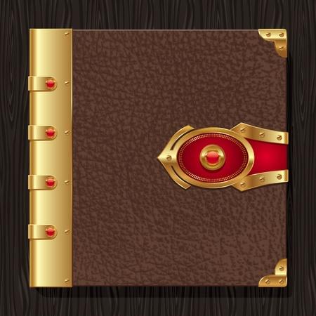 copertina libro antico: Copertina rigida in pelle Vintage di un libro d'oro con elementi decorativi