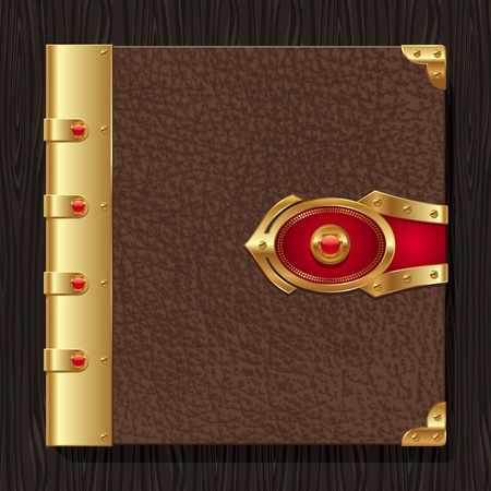clasps: Vintage leather hardcover of a book with golden decorative elements