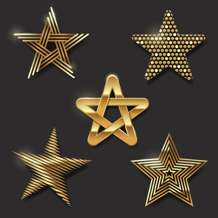 star shape: Vector set of golden decorative stars