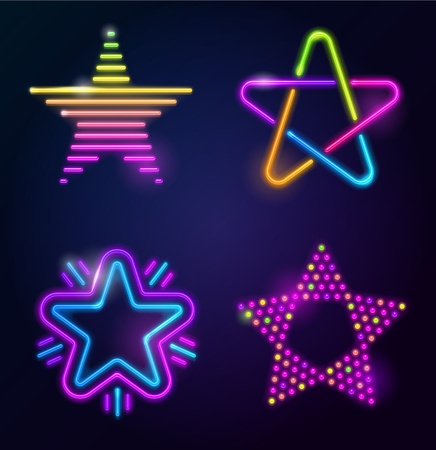 fluorescent: Decorative neon stars Illustration