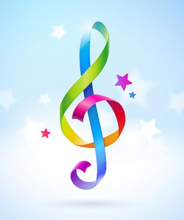 chiave di violino: Nastri colorate lucide a forma di chiave di violino
