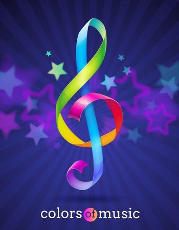 chiave di violino: Multicolore nastri lucido a forma di chiave di violino Vettoriali