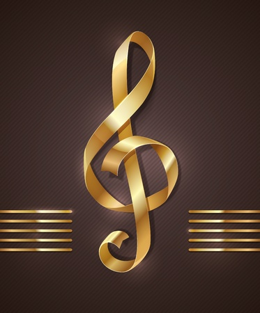 treble clef: Gold ribbon in the shape of treble clef