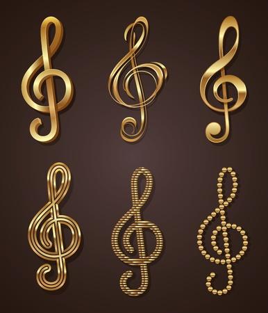 note musicali: set di golden decorativo chiave di violino