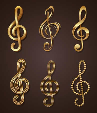 music notes: set of golden decorative treble clef