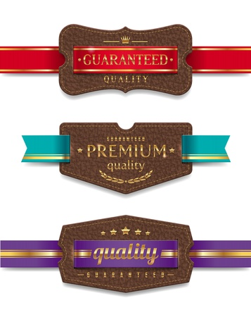 leather label: leather quality labels with ribbon