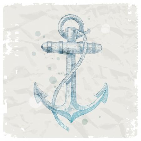 at anchor: Dibujado a mano ancla en el fondo del papel del grunge - ilustraci�n vectorial Vectores