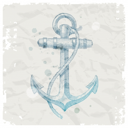 anchor: Hand drawn anchor on grunge paper background - vector illustration