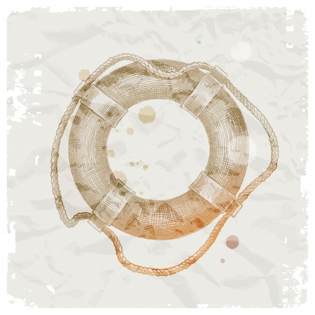 Hand drawn lifebuoy on grunge paper background - vector illustration Vector