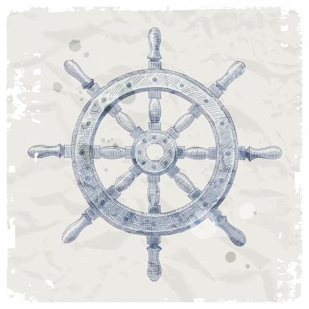 piloting: Hand drawn vector illustration - ship steering wheel Illustration