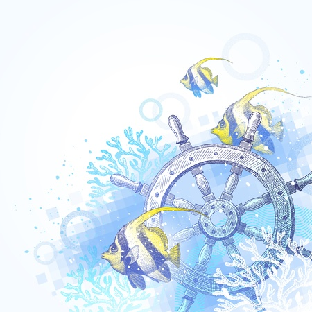 bottom line: Hand drawn vector illustration - ship steering wheel, corals and tropical fishes