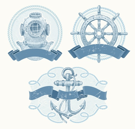 Nautical vector emblems with hand drawn elements - old diving helmet, ship steering wheel and anchor Vector