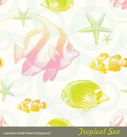 Seamless vector hand drawn background - tropical fishes Vector