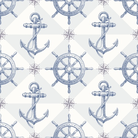 hand with dumbbell: Vector seamless nautical background with hand drawn elements - ship steering wheel and anchor