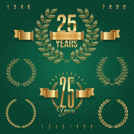 glint: Aniversario de oro emblemas y elementos decorativos