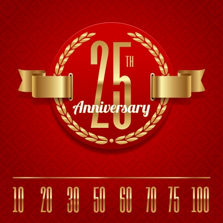 Decorative anniversary golden emblem Vector