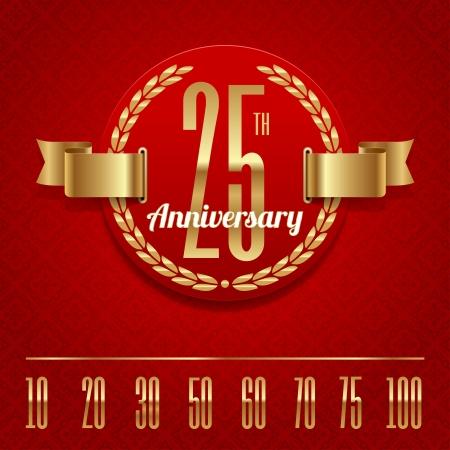 triumph: Decorative anniversary golden emblem