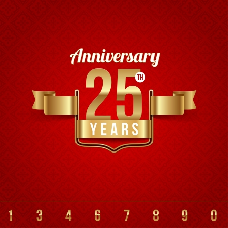 celebration: Decorative golden emblem of anniversary Illustration