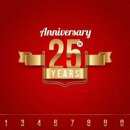 celebration: Ozdobny złoty emblemat rocznicy Ilustracja