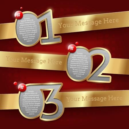 numbered: I modelli di progettazione con numerati bandiere d'oro - illustrazione vettoriale Vettoriali