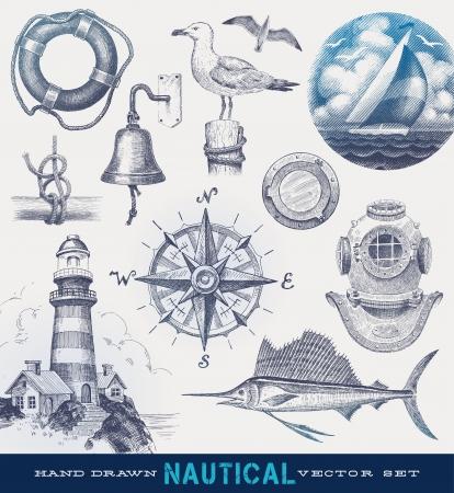 timone: Nautica disegnata a mano insieme vettoriale Vettoriali