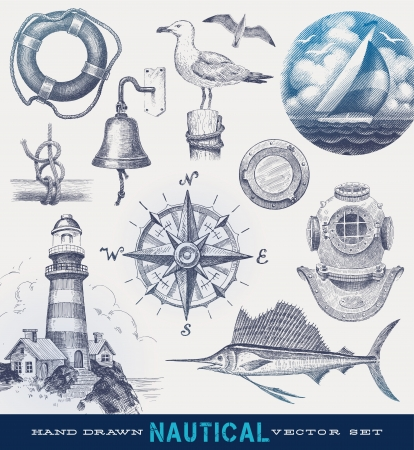marine ship: Nautical hand drawn vector set Illustration