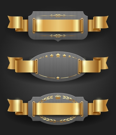 Ornate metal frames with golden decor and ribbons - vector illustration Vector