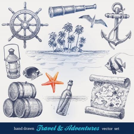 isla del tesoro: Viajes y aventuras dibujado a mano set vector