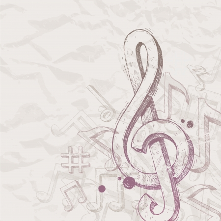 treble clef: Vector hand drawn treble clef and notes