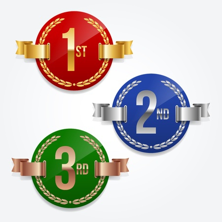 Vector illustration of 1st; 2nd; 3rd awards emblems Vector