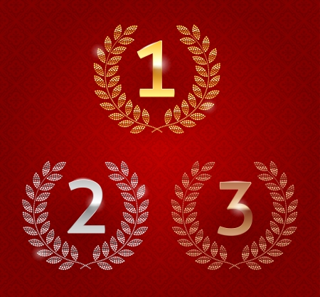 Vector illustration of 1st; 2nd; 3rd awards golden emblems Vector