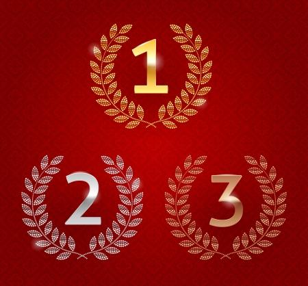 Ilustración vectorial de la primera, segunda, tercera premios emblemas de oro