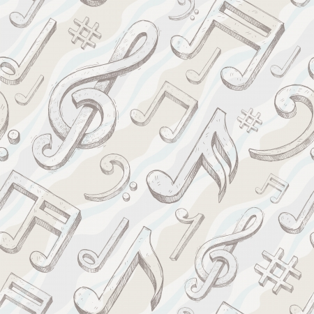 treble clef: Vector seamless background with hand drawn treble clef and notes
