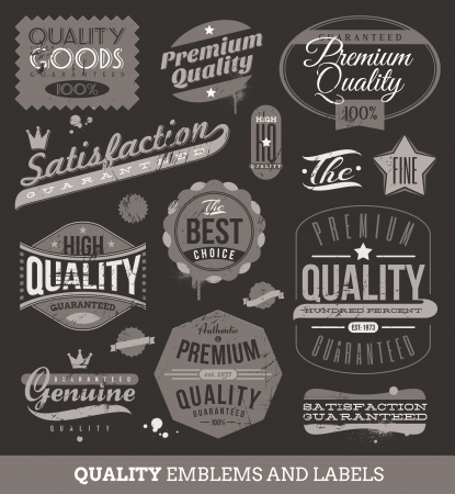 retro grunge: Vector signs, emblems and labels of quality and guaranteed