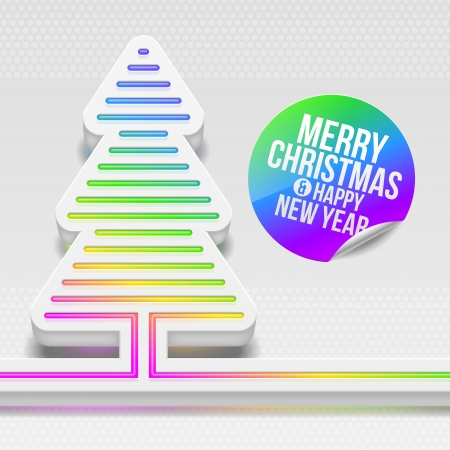 season's greeting: Abstract vector design - three-dimensional Christmas tree with multicolor decor