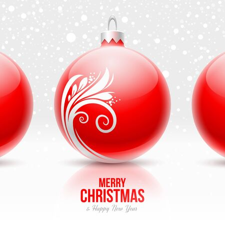 christmas ball: Red baubles with white decor - Christmas vector design Illustration