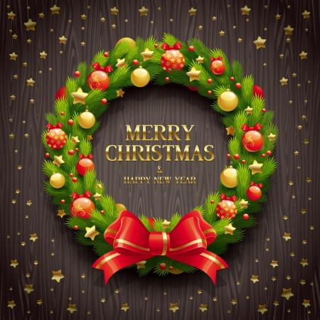 motivos navideños: Ilustración vectorial - Navidad conífero corona de flores en un fondo de madera Vectores