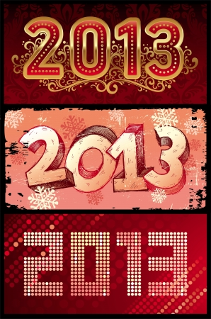 two thousand thirteen: Vector illustration - New Year 2013