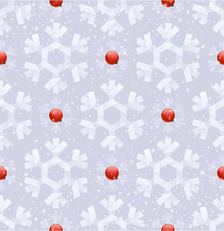 rowanberry: Vector seamless background - paper snowflakes and ripe rowanberry