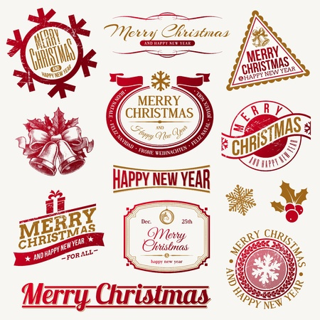 merry christmas text: Vector conjunto de emblemas decorativos navide�os festivos y etiquetas Vectores