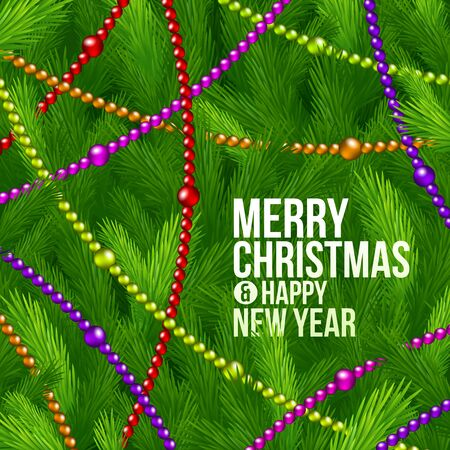Christmas tree branches and color beads-  holidays background