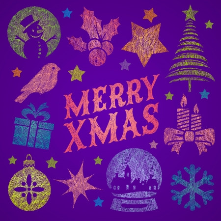 Hand drawn Christmas things and signs Vector
