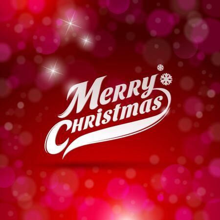 merry christmas text: Holidays card design with decorative inscription - Merry Christmas Illustration