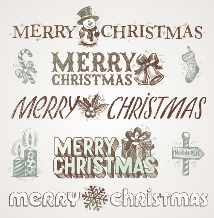 hand drawn Christmas greetings and signs Vector