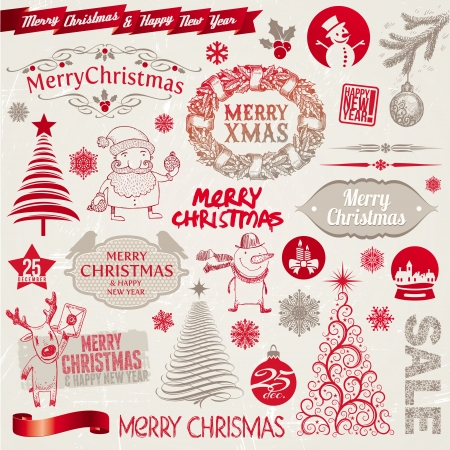 christmas tree set:  set of Christmas signs, emblems and doodles Illustration