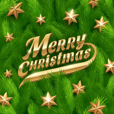 Golden Christmas greeting and stars on a fur-tree branches background -  illustration Vector